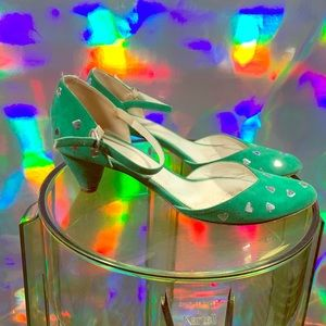 Green hearts Marc Jacob kitten heels